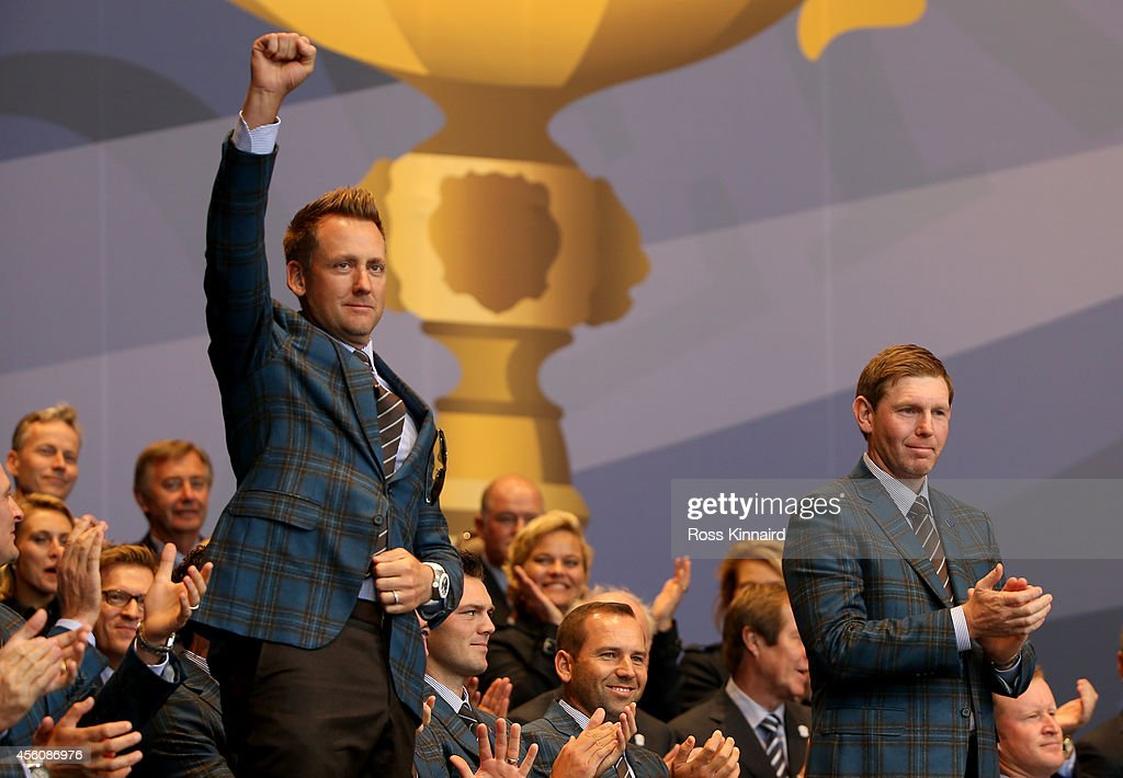 Ian Poulter (L) and Stephen Gallacher of Europe are announced as playing partners for their opening fourball match during the Opening Ceremony ahead of the 40th Ryder Cup at Gleneagles on September 25, 2014 in Auchterarder, Scotland.