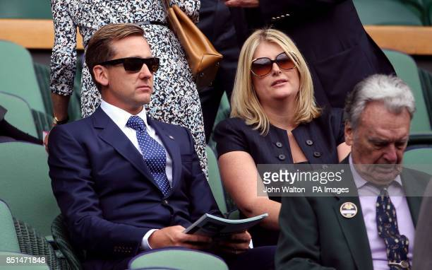 Ian Poulter and wife Katie in the royal box during day seven of the Wimbledon Championships at The All England Lawn Tennis and Croquet Club Wimbledon