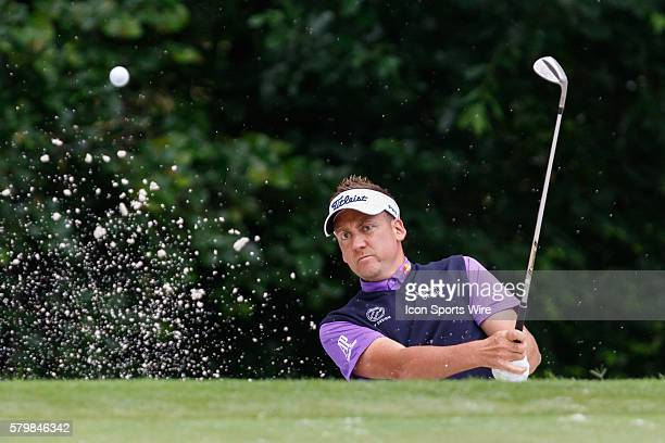 Ian Poulter hits out of a green side bunker on during the second round of the Crowne Plaza Invitational at Colonial in Fort Worth TX
