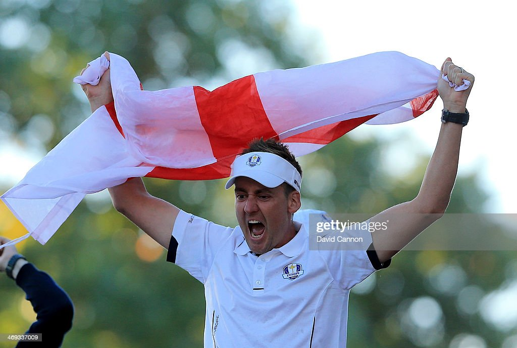 <a gi-track='captionPersonalityLinkClicked' href=/galleries/search?phrase=Ian+Poulter&family=editorial&specificpeople=171444 ng-click='$event.stopPropagation()'>Ian Poulter</a> of Engalnd and the European Team celebrates the famous victory after the Singles Matches for The 39th Ryder Cup at Medinah Country Club on September 30, 2012 in Medinah, Illinois.