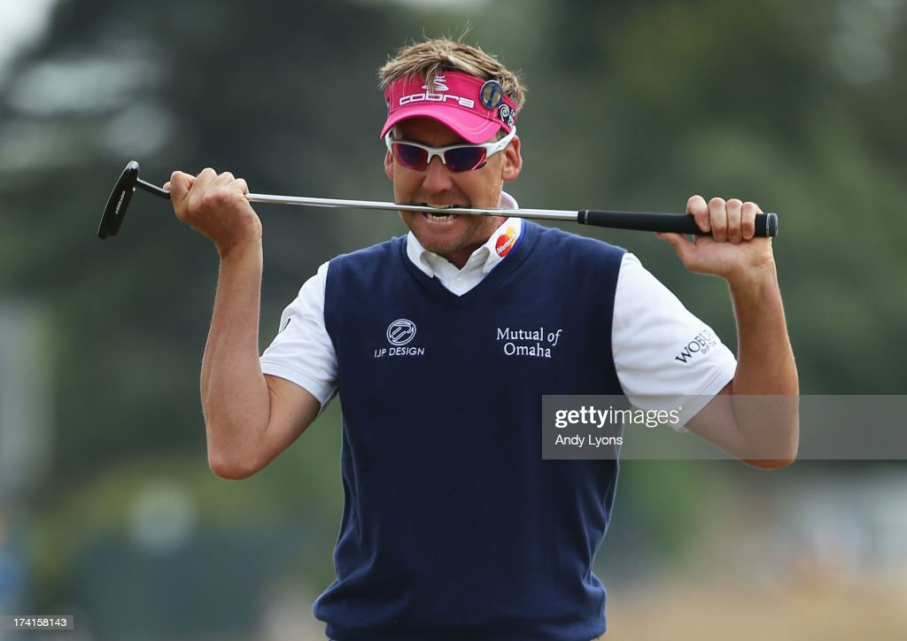 <a gi-track='captionPersonalityLinkClicked' href=/galleries/search?phrase=Ian+Poulter&family=editorial&specificpeople=171444 ng-click='$event.stopPropagation()'>Ian Poulter</a> of England bites his putter after missing a birdie putt on the 1st green during the final round of the 142nd Open Championship at Muirfield on July 21, 2013 in Gullane, Scotland.