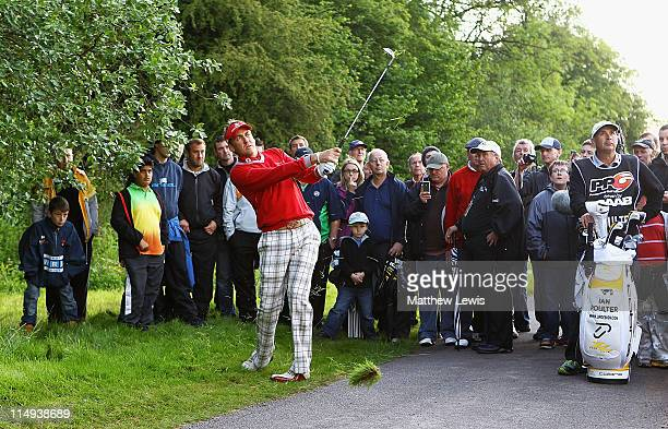 Ian Poulter of England chips onto the 6th green during the PowerPlay Ignition Golf on the Twenty Ten Course at the Celtic Manor Resort on May 30 2011...