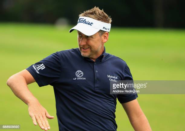 Ian Poulter of England gestures during day three of the BMW PGA Championship at Wentworth on May 27 2017 in Virginia Water England