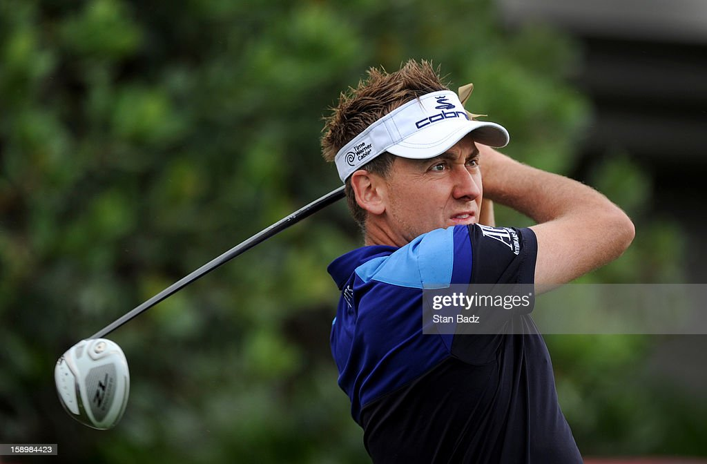 Ian Poulter of England hits a drive on the first hole during the first round of the Hyundai Tournament of Champions at Plantation Course at Kapalua on January 4, 2013 in Kapalua, Hawaii.