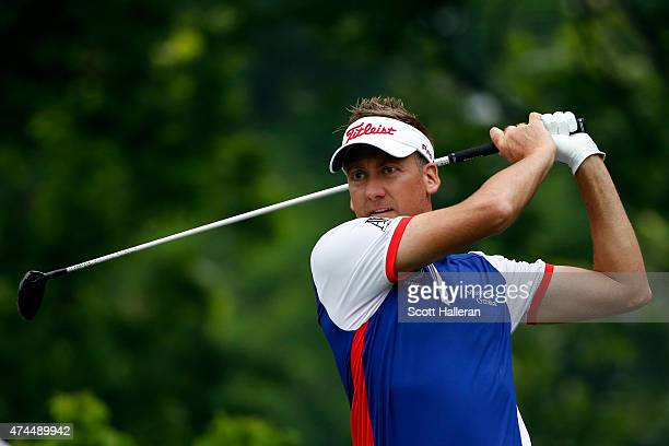 Ian Poulter of England hits a shot from the 6th tee during the third round of the Crowne Plaza Invitational at the Colonial Country Club on May 23...