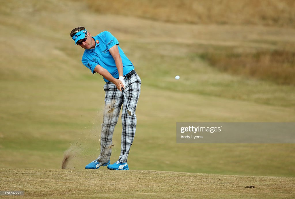 Ian Poulter of England hits a shot on the 6th hole during the first round of the 142nd Open Championship at Muirfield on July 18, 2013 in Gullane, Scotland.