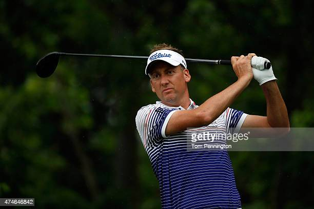 Ian Poulter of England hits a shot on the 6th tee during the final round of the Crowne Plaza Invitational at the Colonial Country Club on May 24 2015...