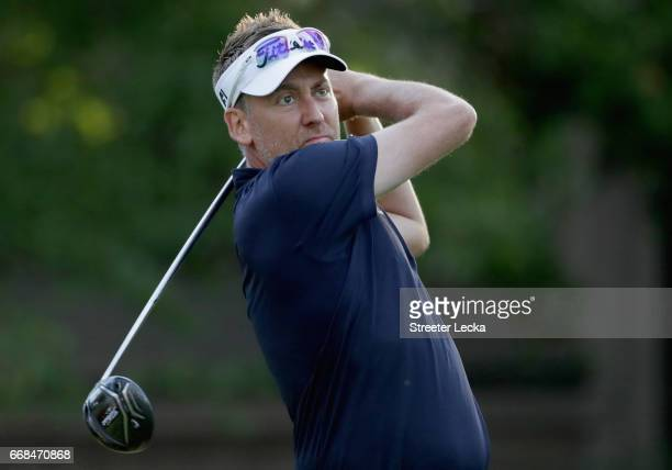 Ian Poulter of England hits a tee shot on the 12th hole during the second round of the 2017 RBC Heritage at Harbour Town Golf Links on April 14 2017...