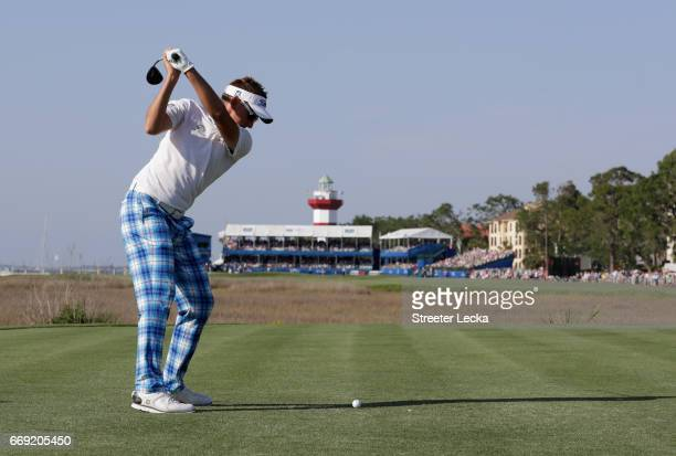 Ian Poulter of England hits a tee shot on the 18th hole during the final round of the 2017 RBC Heritage at Harbour Town Golf Links on April 16 2017...