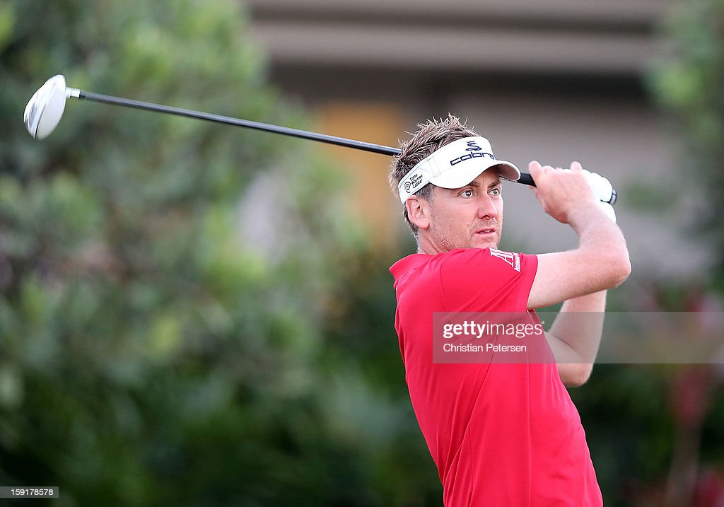 Ian Poulter of England hits a tee shot on the first hole during the final round of the Hyundai Tournament of Champions at the Plantation Course on January 8, 2013 in Kapalua, Hawaii.