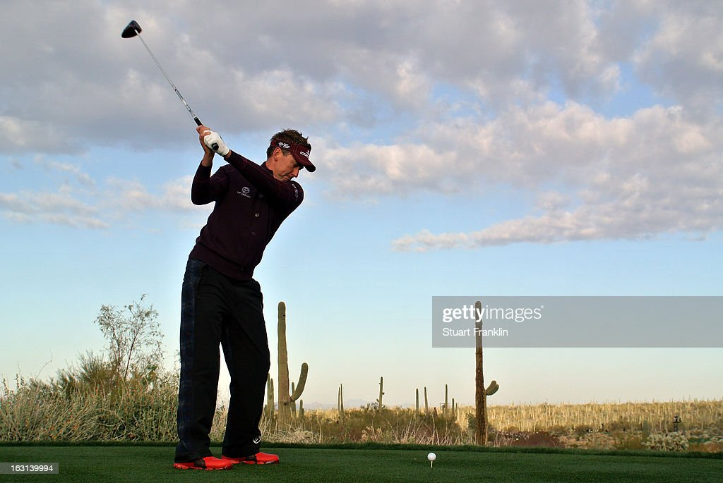 Ian Poulter of England hits his tee shot during the semifinal round of the World Golf Championships - Accenture Match Play at the Golf Club at Dove Mountain on February 24, 2013 in Marana, Arizona.