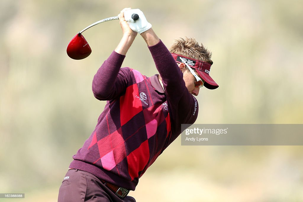 <a gi-track='captionPersonalityLinkClicked' href=/galleries/search?phrase=Ian+Poulter&family=editorial&specificpeople=171444 ng-click='$event.stopPropagation()'>Ian Poulter</a> of England hits his tee shot on the 11th hole during the second round of the World Golf Championships - Accenture Match Play at the Golf Club at Dove Mountain on February 22, 2013 in Marana, Arizona.