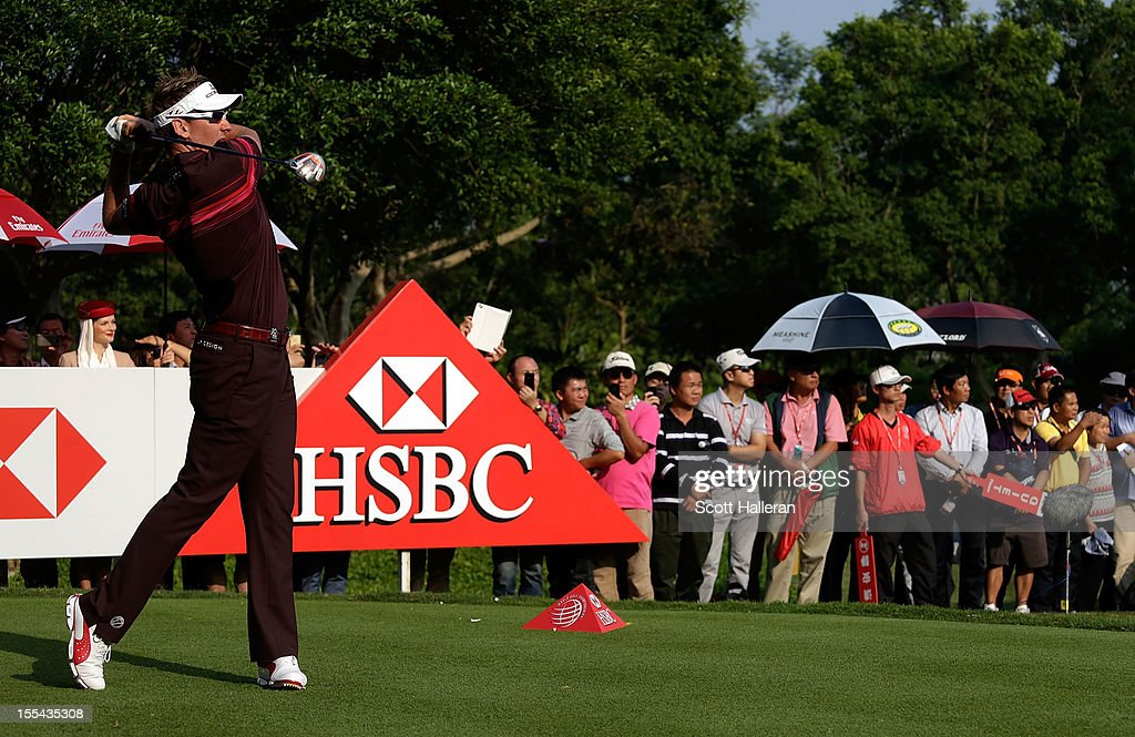 Ian Poulter of England hits his tee shot on the 18th hole during the final round of the WGC HSBC Champions at the Mission Hills Resort on November 4, 2012 in Shenzhen, China.