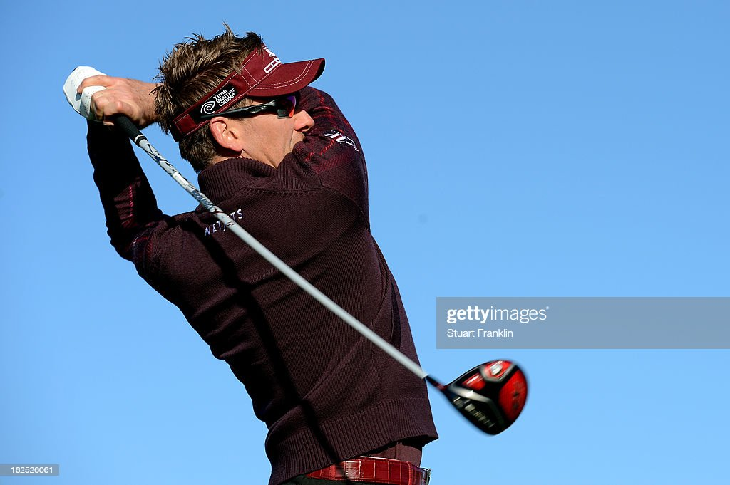 Ian Poulter of England hits his tee shot on the eighth hole during the semifinal round of the World Golf Championships - Accenture Match Play at the Golf Club at Dove Mountain on February 24, 2013 in Marana, Arizona.