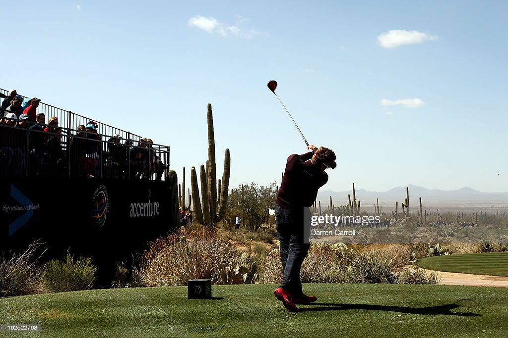Ian Poulter of England hits his tee shot on the first hole to start his third place match during the final round of the World Golf Championships - Accenture Match Play at the Golf Club at Dove Mountain on February 24, 2013 in Marana, Arizona.