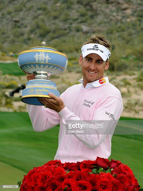 Ian Poulter of England holds the Walter Hagen Cup Trophy after the final round of the World Golf ChampionshipsAccenture Match Play Championship at...