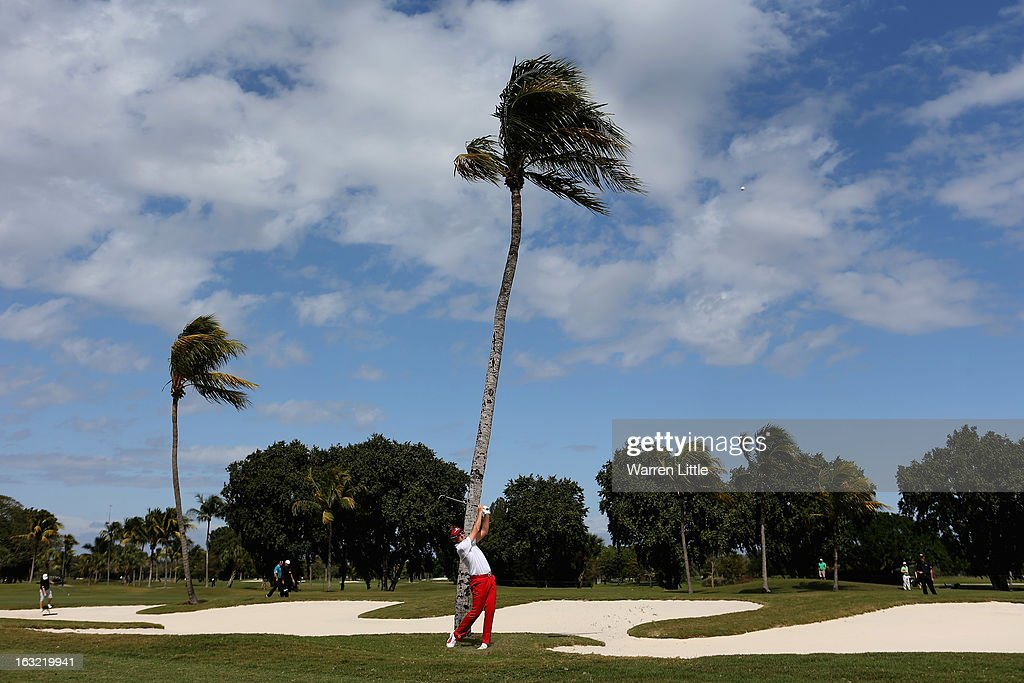 Ian Poulter of England in action during a practice round ahead of the WGC - Cadillac Championship at the Doral Golf Resort & Spa on March 6, 2013 in Miami, Florida.