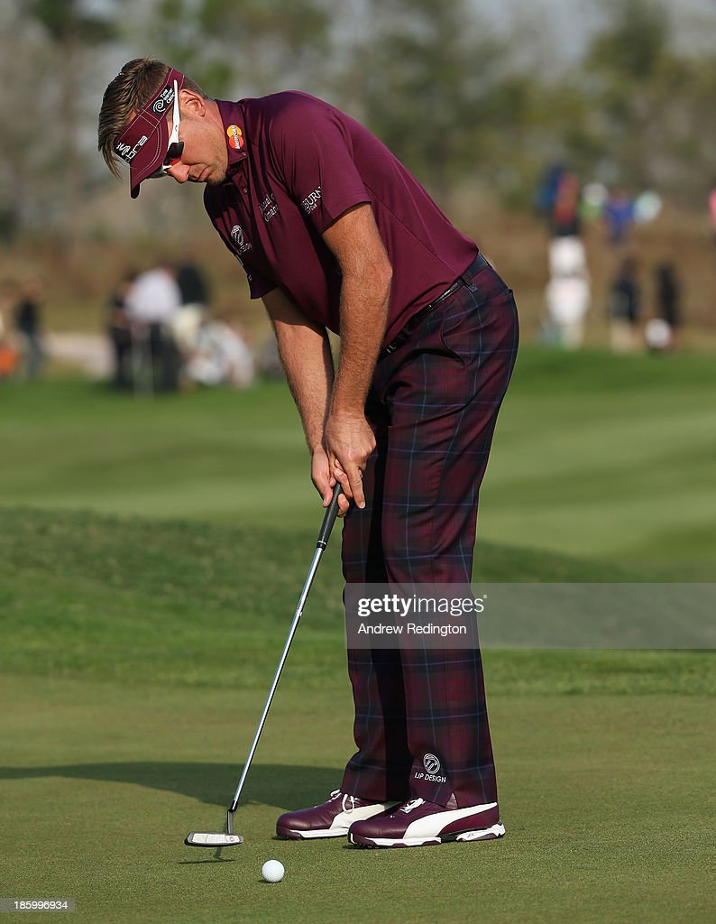 Ian Poulter of England in action during the final round of the BMW Masters at Lake Malaren Golf Club on October 27, 2013 in Shanghai, China.