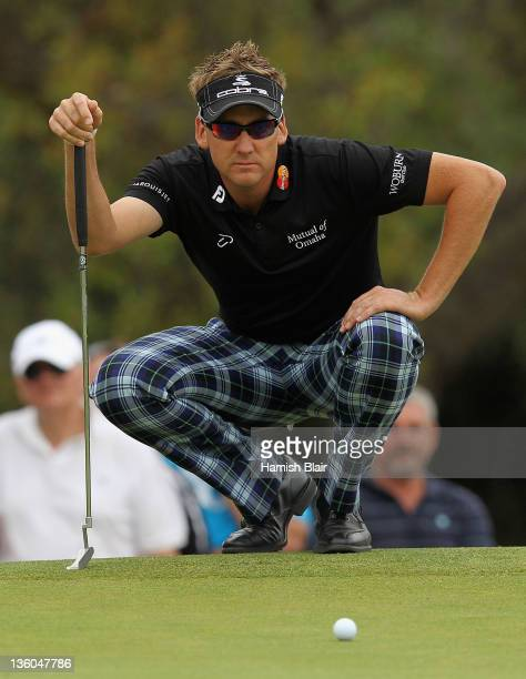 Ian Poulter of England lines up a putt during day four of the 2011 Australian Masters at The Victoria Golf Club on December 18 2011 in Melbourne...