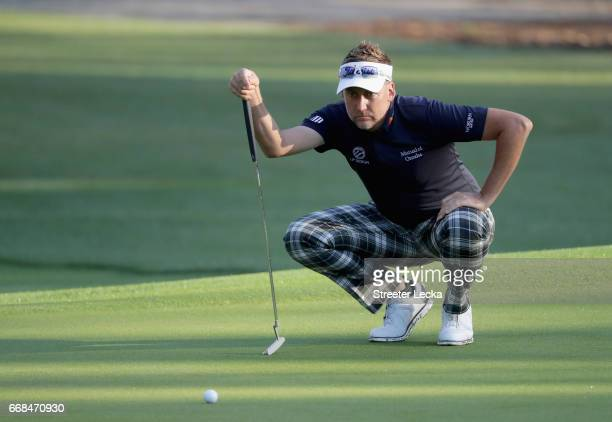 Ian Poulter of England lines up a putt on the 11th hole during the second round of the 2017 RBC Heritage at Harbour Town Golf Links on April 14 2017...