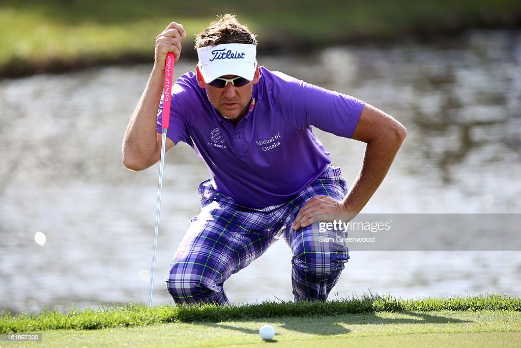 <a gi-track='captionPersonalityLinkClicked' href=/galleries/search?phrase=Ian+Poulter&family=editorial&specificpeople=171444 ng-click='$event.stopPropagation()'>Ian Poulter</a> of England lines up a putt on the 17th green during the continuation of the third round of The Honda Classic at PGA National Resort & Spa - Champion Course on March 1, 2015 in Palm Beach Gardens, Florida.