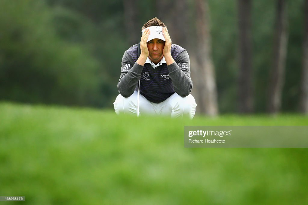 Ian Poulter of England lines up a putt on the 1st green during the second round of the 2014 Turkish Airlines Open at The Montgomerie Maxx Royal on November 14, 2014 in Antalya, Turkey.