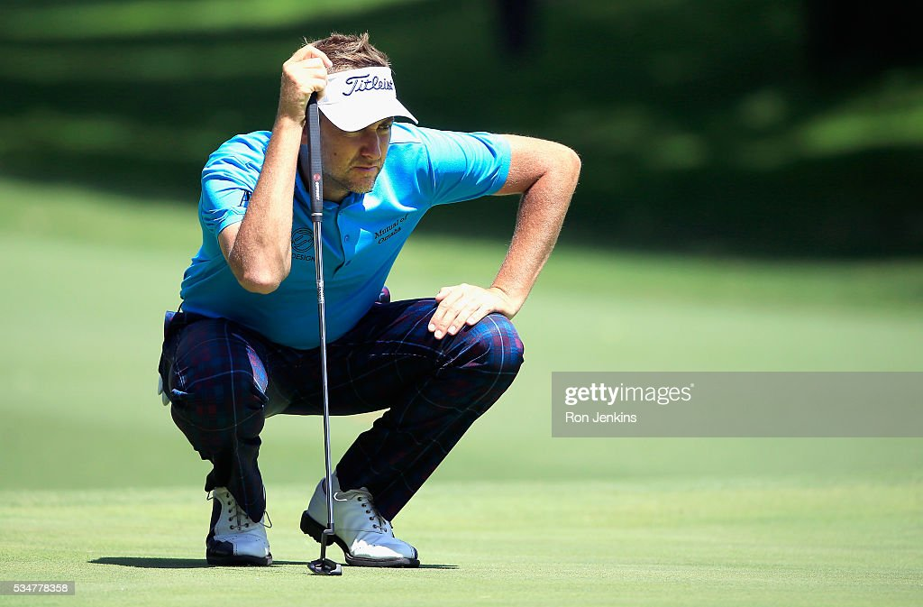Ian Poulter of England lines up a putt on the fifth green during the Second Round of the DEAN & DELUCA Invitational at Colonial Country Club on May 27, 2016 in Fort Worth, Texas.