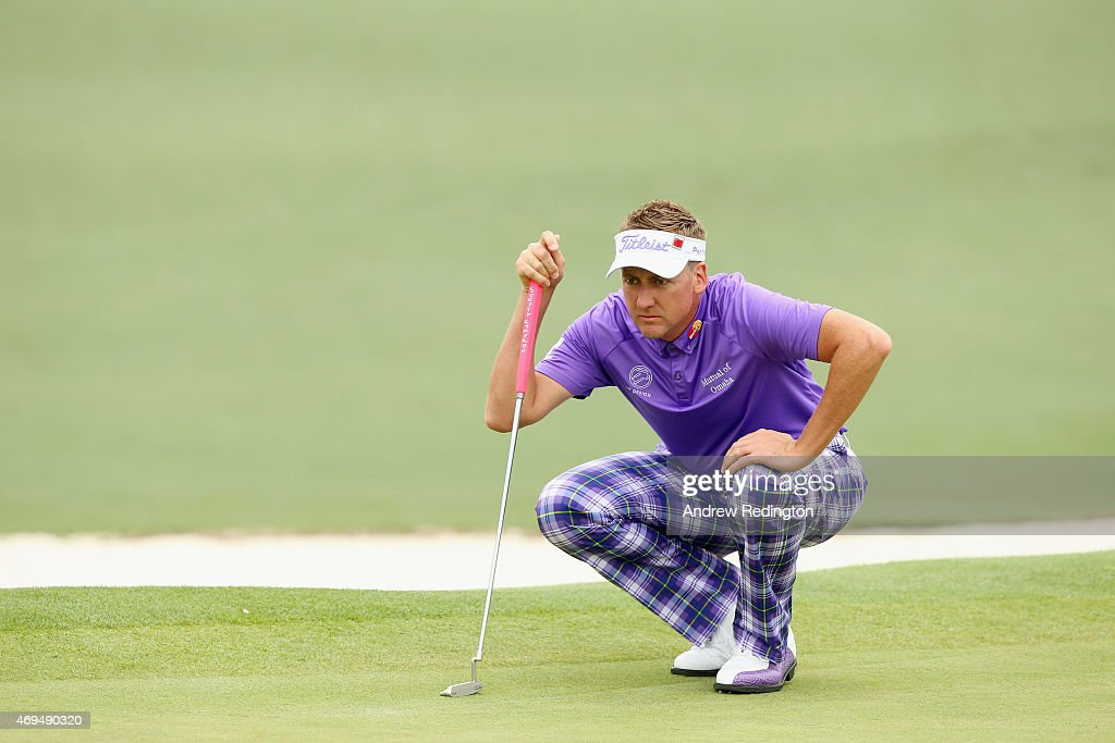 <a gi-track='captionPersonalityLinkClicked' href=/galleries/search?phrase=Ian+Poulter&family=editorial&specificpeople=171444 ng-click='$event.stopPropagation()'>Ian Poulter</a> of England lines up a putt on the second hole during the final round of the 2015 Masters Tournament at Augusta National Golf Club on April 12, 2015 in Augusta, Georgia.