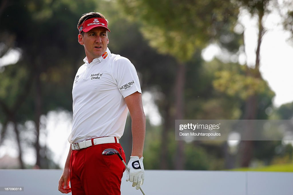 <a gi-track='captionPersonalityLinkClicked' href=/galleries/search?phrase=Ian+Poulter&family=editorial&specificpeople=171444 ng-click='$event.stopPropagation()'>Ian Poulter</a> of England looks on after he hits his tee shot on the 3rd hole during the pro-am as a preview for the Turkish Airlines Open at Montgomerie Maxx Royal Course on November 6, 2013 in Antalya, Turkey.
