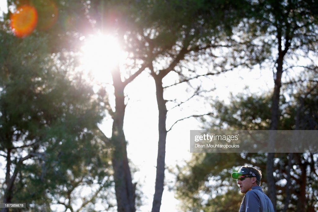 Ian Poulter of England looks on after he hits his tee shot the 16th hole during the second round of the Turkish Airlines Open at The Montgomerie Maxx Royal Course on November 8, 2013 in Antalya, Turkey.