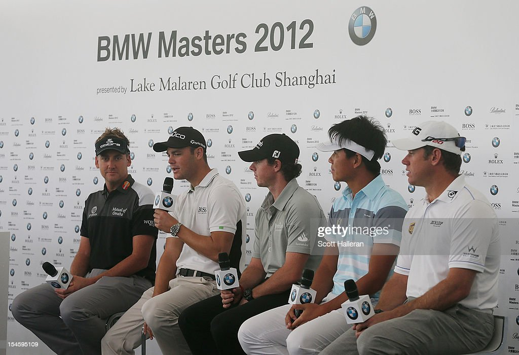 <a gi-track='captionPersonalityLinkClicked' href=/galleries/search?phrase=Ian+Poulter&family=editorial&specificpeople=171444 ng-click='$event.stopPropagation()'>Ian Poulter</a> of England, <a gi-track='captionPersonalityLinkClicked' href=/galleries/search?phrase=Martin+Kaymer&family=editorial&specificpeople=2143733 ng-click='$event.stopPropagation()'>Martin Kaymer</a> of Germany, <a gi-track='captionPersonalityLinkClicked' href=/galleries/search?phrase=Rory+McIlroy&family=editorial&specificpeople=783109 ng-click='$event.stopPropagation()'>Rory McIlroy</a> of Northern Ireland, Wu A-shun of China and <a gi-track='captionPersonalityLinkClicked' href=/galleries/search?phrase=Lee+Westwood&family=editorial&specificpeople=171611 ng-click='$event.stopPropagation()'>Lee Westwood</a> of England speak with the media during the photocall and press conference prior to the start of the BMW Masters at the Lake Malaren Golf Club on October 23, 2012 in Shanghai, China.