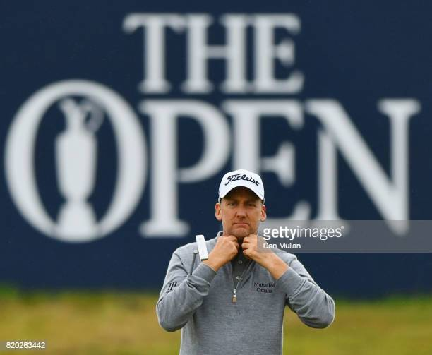 Ian Poulter of England on the 18th green during the second round of the 146th Open Championship at Royal Birkdale on July 21 2017 in Southport England