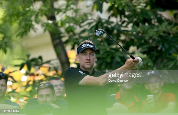 Ian Poulter of England plays a shot during the proam for the 2017 BMW PGA Championship on the West Course at Wentworth on May 24 2017 in Virginia...