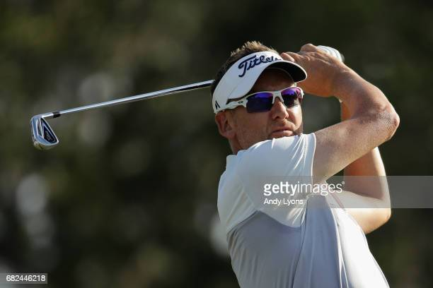 Ian Poulter of England plays a shot during the second round of THE PLAYERS Championship at the Stadium course at TPC Sawgrass on May 12 2017 in Ponte...