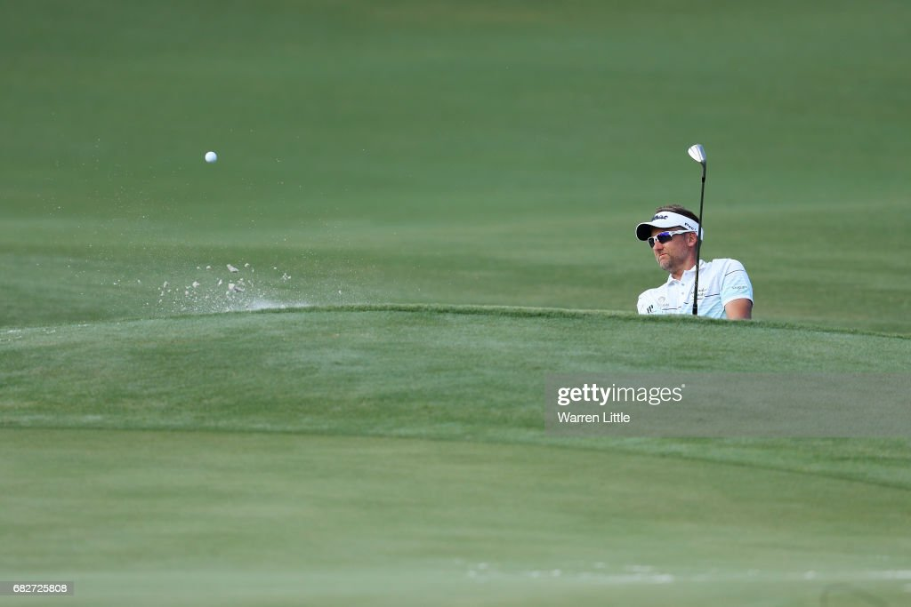 Ian Poulter of England plays a shot from a bunker on the 11th hole during the third round of THE PLAYERS Championship at the Stadium course at TPC Sawgrass on May 13, 2017 in Ponte Vedra Beach, Florida.
