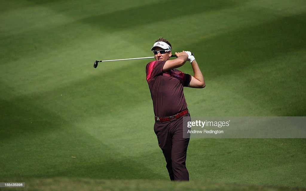 Ian Poulter of England plays his second shot on the ninth hole during the final round of the WGC HSBC Champions at the Mission Hills Resort on November 4, 2012 in Shenzhen, China.