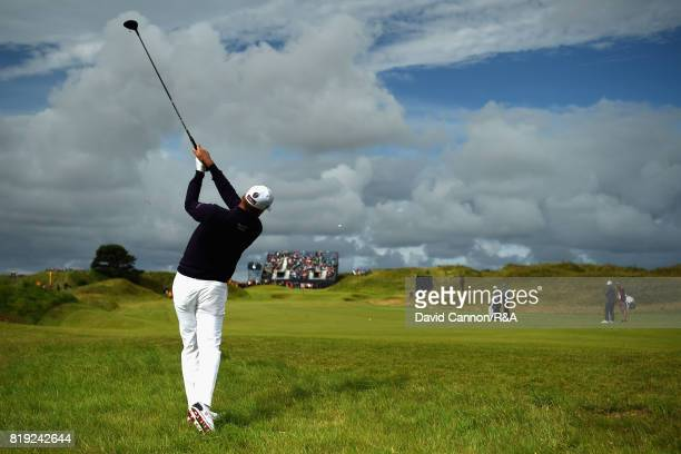 Ian Poulter of England plays his second shot on the sixth hole during the first round of the 146th Open Championship at Royal Birkdale on July 20...