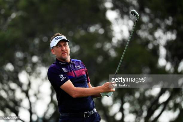 Ian Poulter of England plays his shot from the fifth tee during the second round of The Honda Classic at PGA National Resort and Spa on February 24...