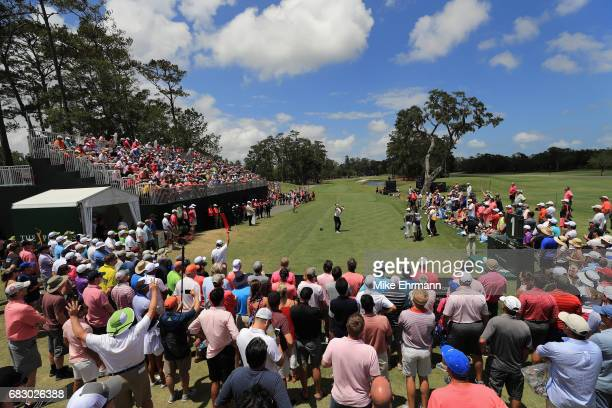 Ian Poulter of England plays his shot from the first tee during the final round of THE PLAYERS Championship at the Stadium course at TPC Sawgrass on...