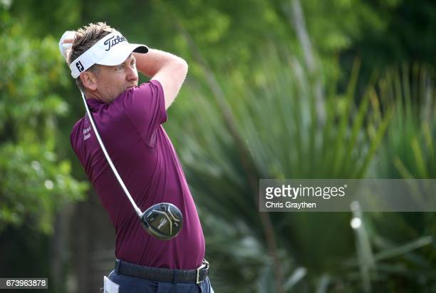 Ian Poulter of England plays his shot from the second tee during the first round of the Zurich Classic at TPC Louisiana on April 27 2017 in Avondale...