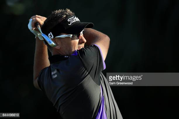 Ian Poulter of England plays his shot from the seventh tee during the first round of The Honda Classic at PGA National Resort and Spa on February 23...