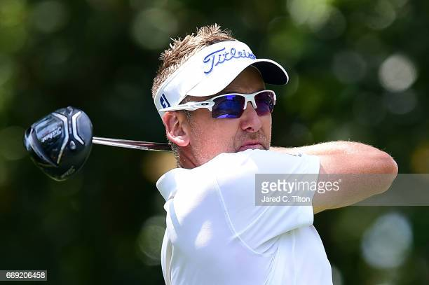 Ian Poulter of England plays his tee shot on the fifth hole during the final round of the 2017 RBC Heritage at Harbour Town Golf Links on April 16...