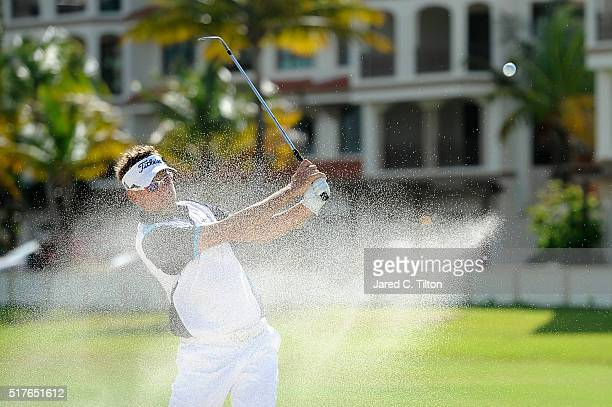 Ian Poulter of England plays his third shot from the bunker on the 14th hole during the third round of the Puerto Rico Open at Coco Beach on March 26...