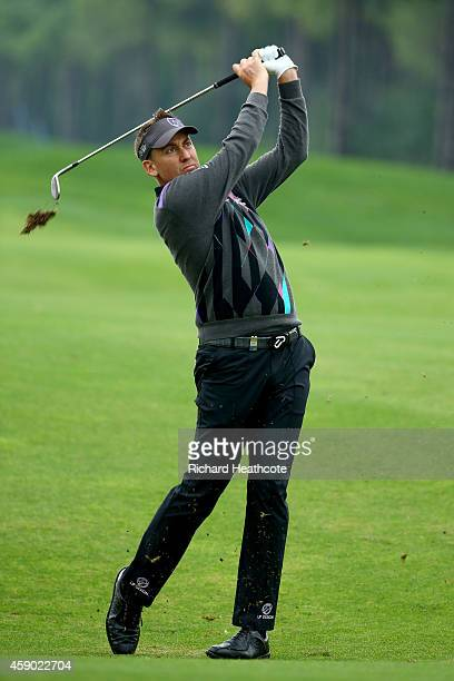 Ian Poulter of England plays into the 11th green during the third round of the 2014 Turkish Airlines Open at The Montgomerie Maxx Royal on November...