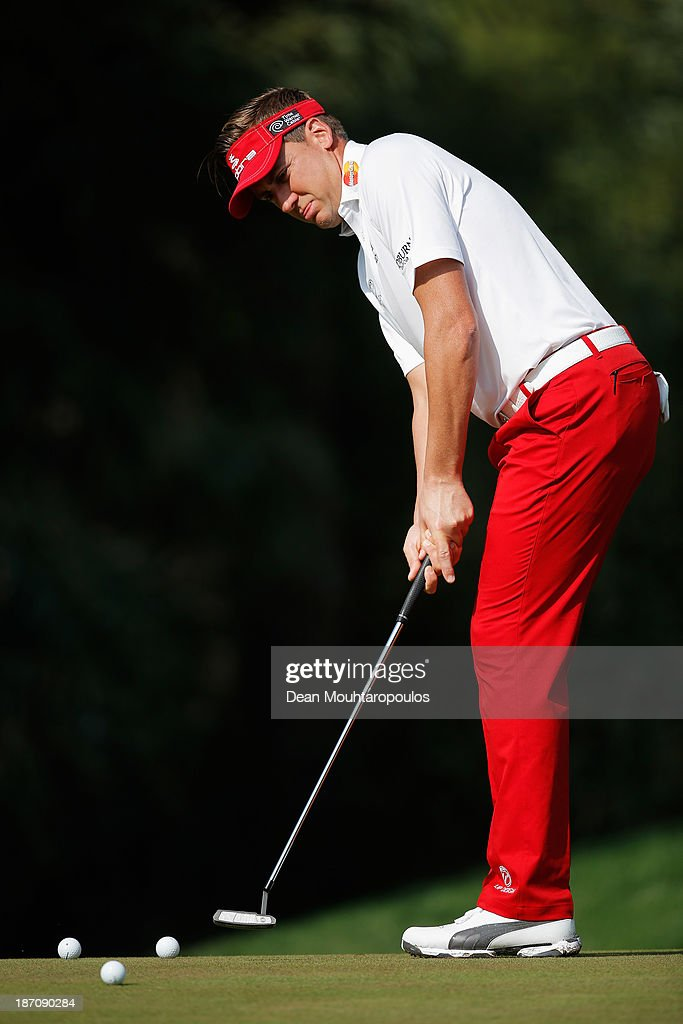 <a gi-track='captionPersonalityLinkClicked' href=/galleries/search?phrase=Ian+Poulter&family=editorial&specificpeople=171444 ng-click='$event.stopPropagation()'>Ian Poulter</a> of England putts on the 2nd green during the pro-am as a preview for the Turkish Airlines Open at Montgomerie Maxx Royal Course on November 6, 2013 in Antalya, Turkey.