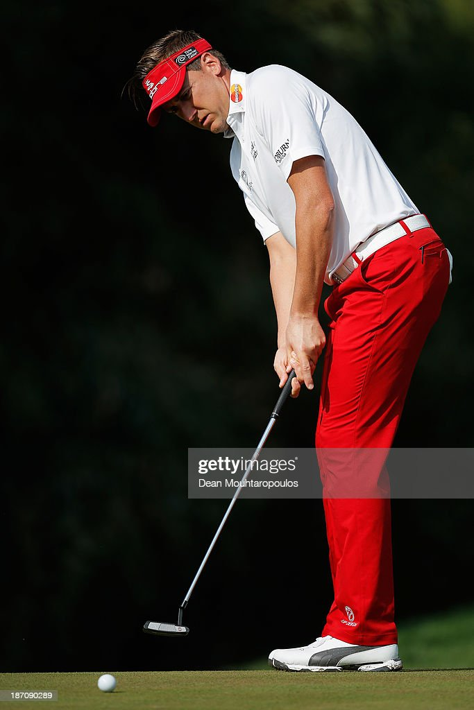 Ian Poulter of England putts on the 2nd green during the pro-am as a preview for the Turkish Airlines Open at Montgomerie Maxx Royal Course on November 6, 2013 in Antalya, Turkey.