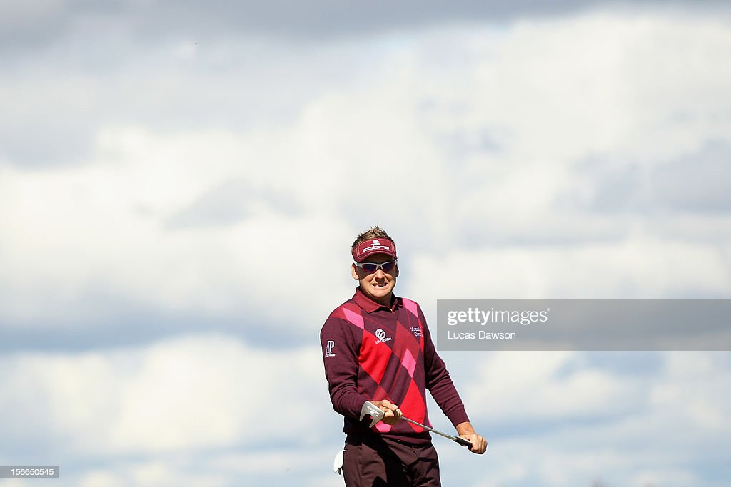 <a gi-track='captionPersonalityLinkClicked' href=/galleries/search?phrase=Ian+Poulter&family=editorial&specificpeople=171444 ng-click='$event.stopPropagation()'>Ian Poulter</a> of England reacts after a putt during day four of the Australian Masters at Kingston Heath Golf Club on November 18, 2012 in Melbourne, Australia.