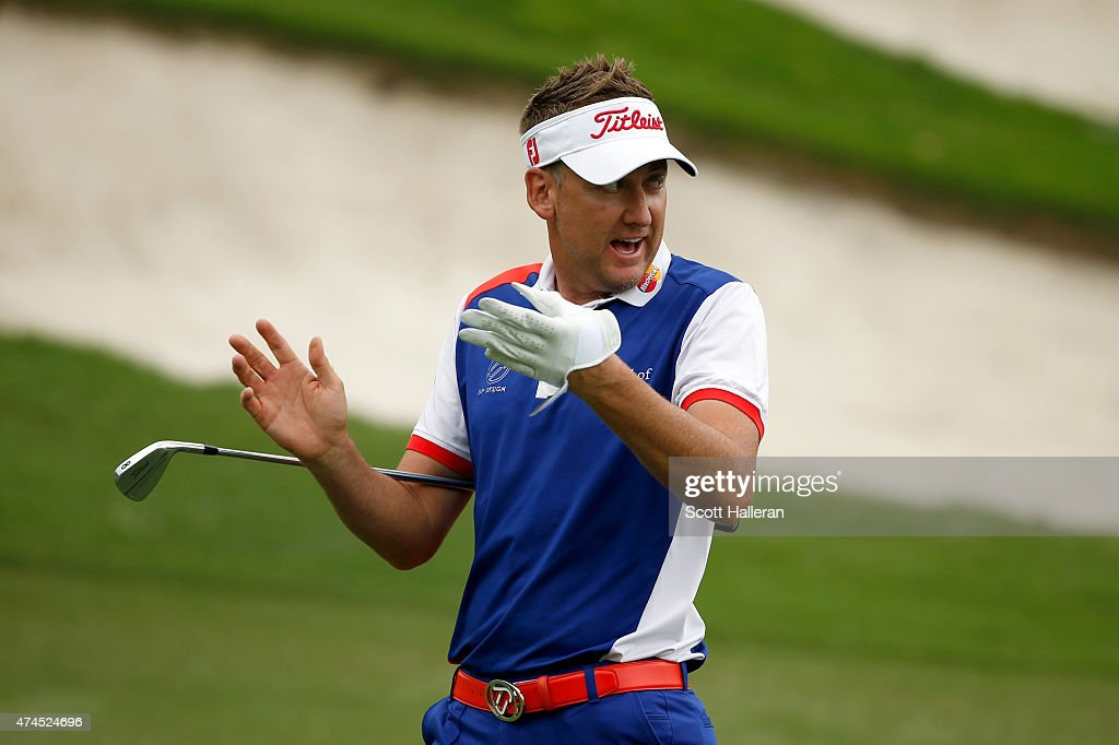 Ian Poulter of England reacts at the 15th fairway during the third round of the Crowne Plaza Invitational at the Colonial Country Club on May 23, 2015 in Fort Worth, Texas.