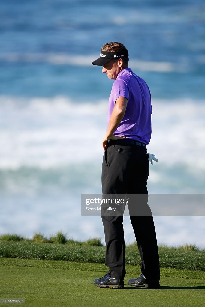 <a gi-track='captionPersonalityLinkClicked' href=/galleries/search?phrase=Ian+Poulter&family=editorial&specificpeople=171444 ng-click='$event.stopPropagation()'>Ian Poulter</a> of England reacts to a putt on the 10th green during round three of the AT&T Pebble Beach National Pro-Am at the Pebble Beach Golf Links on February 13, 2016 in Pebble Beach, California.