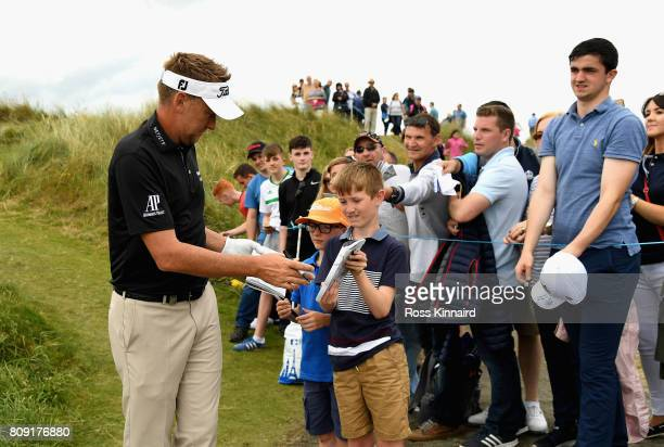 Ian Poulter of England signs autographs during the ProAm of the Dubai Duty Free Irish Open at Portstewart Golf Club on July 5 2017 in Londonderry...